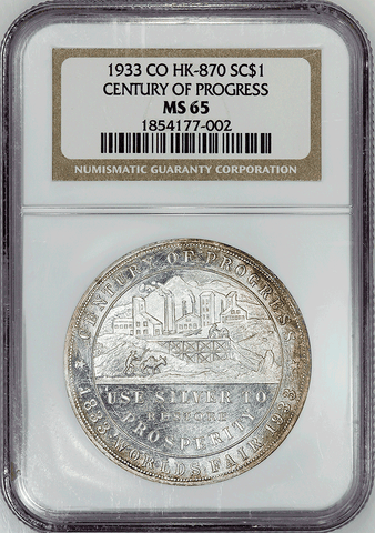 1933 Colorado's Century of Progress Dollar HK-870 R3 40mm ~ NGC MS 65