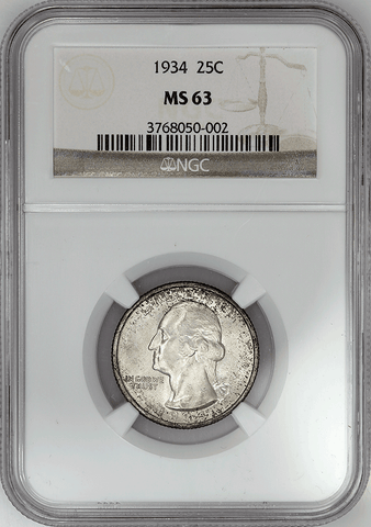 1934 Washington Quarter - NGC MS 63