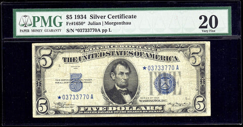 1934 $5 Silver Certificate Star Note Fr. 1650* - PMG Very Fine 20