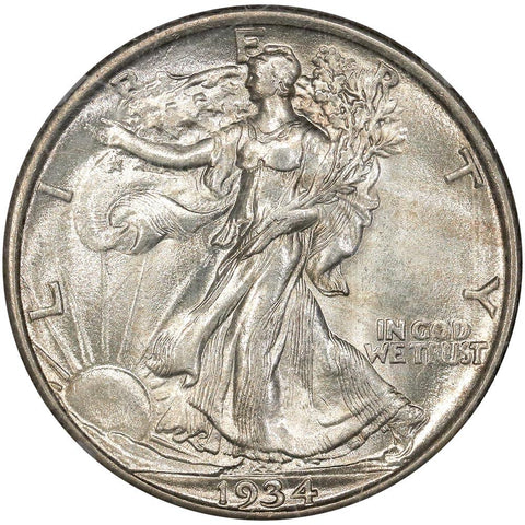 1934 Walking Liberty Half Dollar - NGC MS 62 - Brilliant Uncirculated