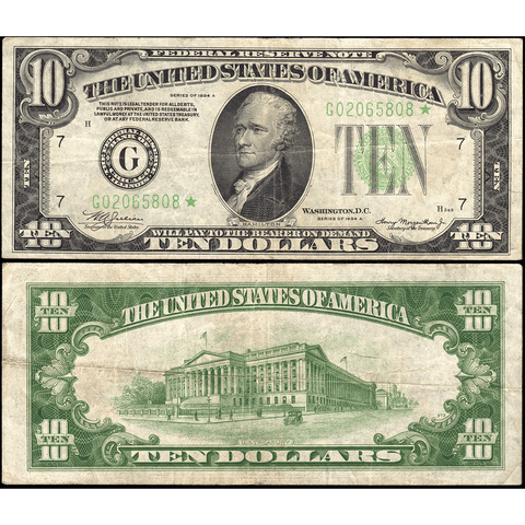 1934-A $10 Federal Reserve Note Chicago District Fr. 2006-G* - Very Fine