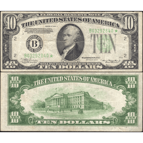 1934-A $10 Federal Reserve Note New York District Fr. 2006-B* - Very Fine
