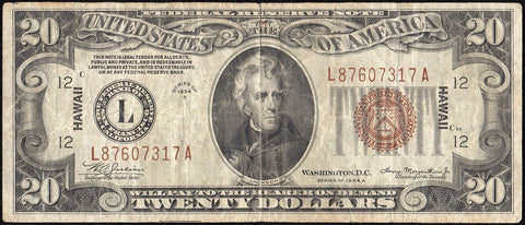 1934-A $20 Hawaii World War 2 Emergency Issue Federal Reserve Note Fr. 2305 ~ Very Fine