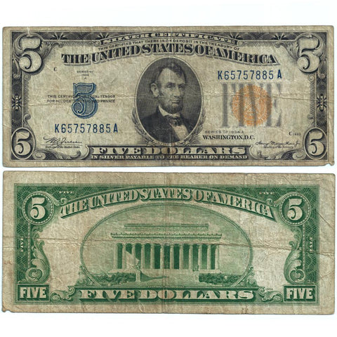 "1934-A $5 North Africa ""Yellow Seal"" Silver Certificate Fr. 2307 - Fine"