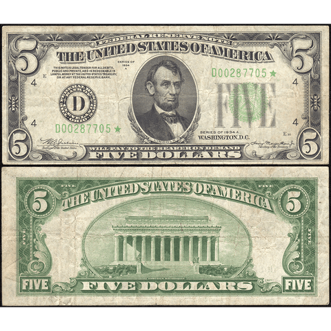 1934-A $5 Federal Reserve Note Cleveland District Fr. 1957-D* - Fine/Very Fine