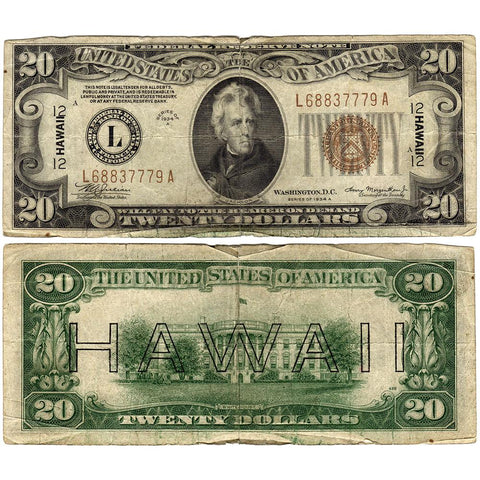 1934-A $20 Hawaii Emergency Issue Federal Reserve Note Fr. 2305 ~ Very Good