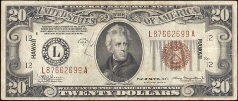 1934-A $20 Hawaii World War 2 Emergency Issue Federal Reserve Note Fr. 2305 ~ Very Fine Details