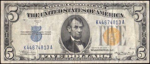 1934-A $5 North Africa Emergency Issue Silver Certificate, FR. 2307 - Very Fine+