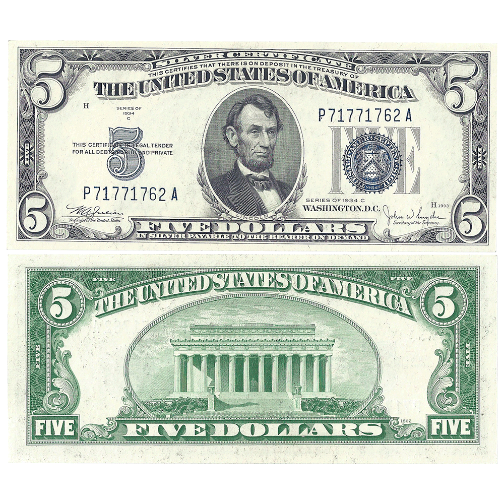 1934 C 5 Silver Certificate Fr 1654 Choice Uncirculated