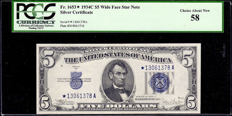 1934-C $5 Silver Certificate Star Note Fr. 1653* Wide Face - PCGS Choice About New 58