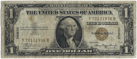 1935-A $1 Hawaii Emergency Issue Silver Certificate, FR. 2300 - Very Good