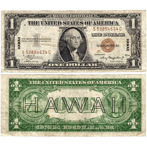 1935-A $1 Hawaii Emergency Issue Silver Certificate, FR. 2300 - Nominal VF