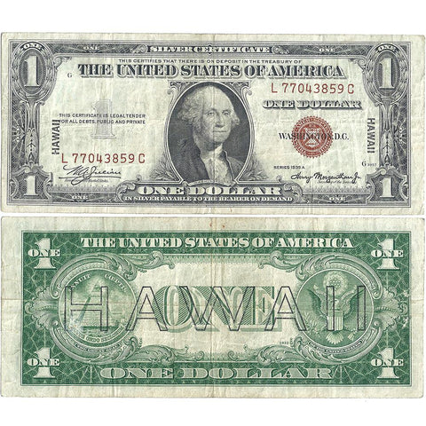1935-A $1 Hawaii Emergency Issue Silver Certificate, FR. 2300 LC Block - Very Fine