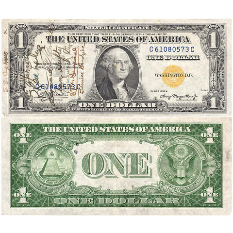 U.S.S. Cepheus Short Snorter 1935-A $1 North Africa Silver Certificate - Very Fine