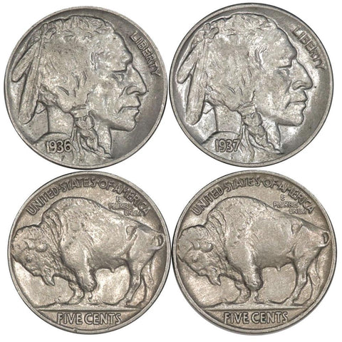 1936 & 1937 Buffalo Nickel Pair - About Uncirculated+