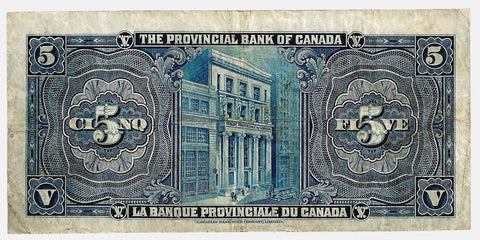 1936 $5 Provincial Bank of Canada Montreal, Charlton 615-18-02 ~ Crisp Very Fine