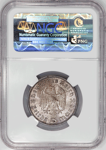 1936-A Germany, Third Reich Silver 5 Marks (Hindenburg) KM.86 - NGC MS 63