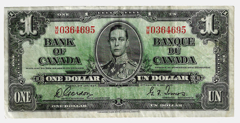 1937 $1 Bank of Canada Gordon | Towers ~ Crisp Very Fine