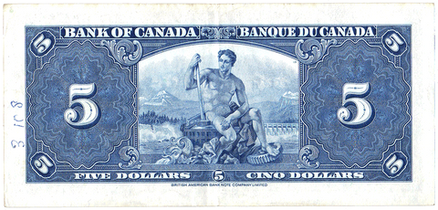 1937 Bank of Canada $5 Coyne-Towers BC-23c H/S ~ Choice Very Fine
