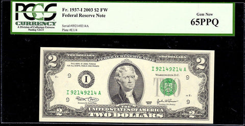 2003 $2 Federal Reserve Note Minneapolis District Fr. 1937-I Repeater - PCGS Gem New 65 PPQ