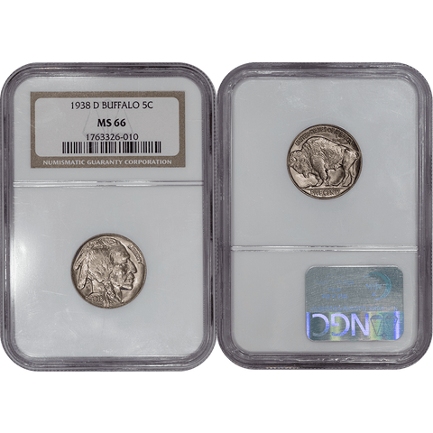 1938-D Buffalo Nickel - NGC MS 66 - Gem Brilliant Uncirculated