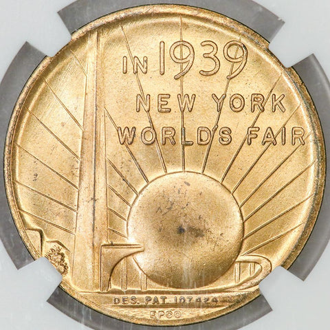 1939 New York Worlds Inauguration Centennial Gilt Bronze Medal B-3002A - NGC MS 64