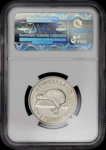 New Zealand - 1940 George VI Silver Florin - KM.10.1 - NGC XF 45
