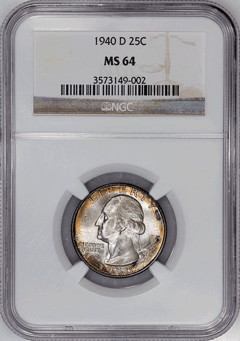 1940-D Washington Quarter - NGC MS 64