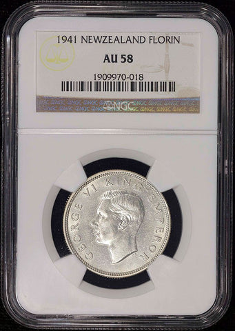 New Zealand - 1941 George VI Silver Florin - KM.10.1 - NGC AU 58