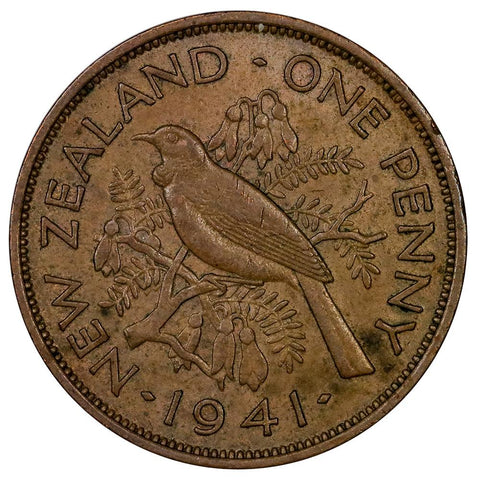 1941 New Zealand Penny KM.13 - About Uncirculated
