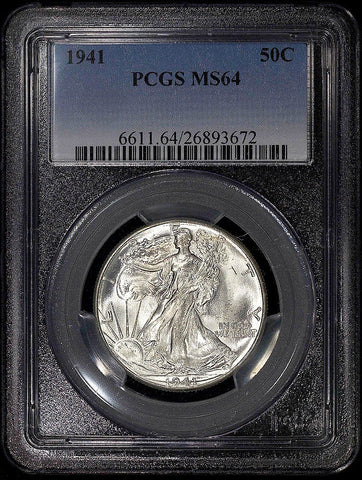 1941 Walking Liberty Half Dollars ~ PCGS MS 64 ~ Choice Brilliant White