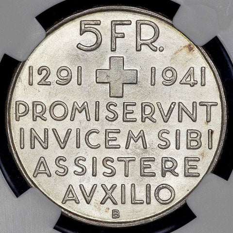 1941-B 650th Swiss Anniversary of Confederation Silver Commemorative 5 Francs ~ NGC MS 65