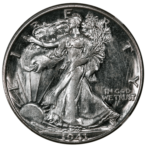 1941-S Walking Liberty Half Dollars - NGC MS 61 Star - Prooflike Obverse