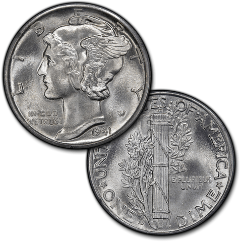 1934 to 1945-S Mercury Dimes By Date - Brilliant Uncirculated