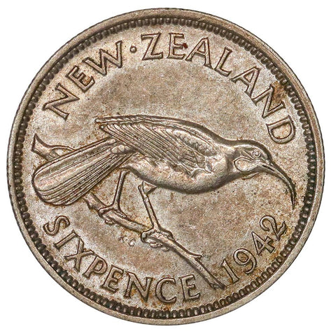 Key-Date 1942 New Zealand Silver 6 Pence KM.8 - Uncirculated