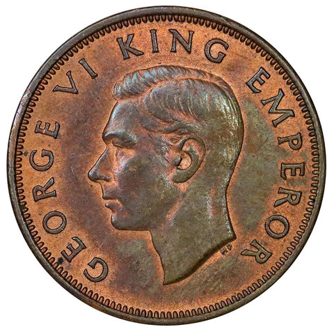 1942 New Zealand 1/2 Half Penny KM.12 - About Uncirculated
