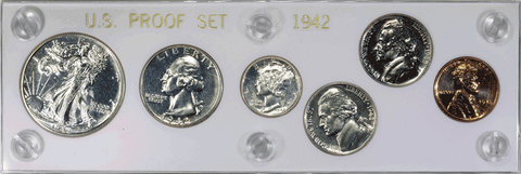 1942 6-Coin Proof Sets ~ Superb Brilliant Proof in Capital Plastic