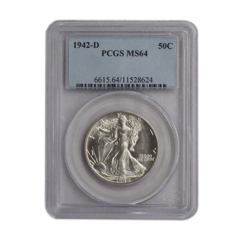 1942-D Walking Liberty Half Dollar - PCGS MS64