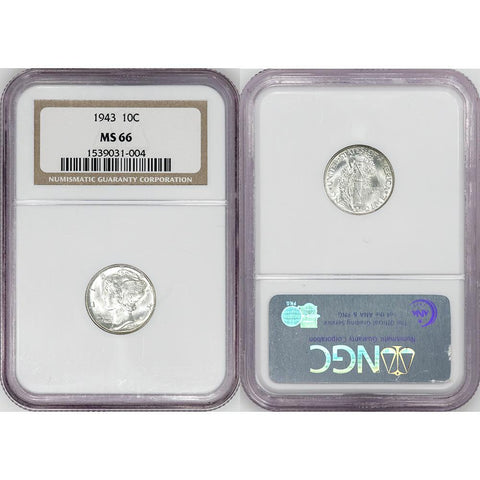 1943 Mercury Dime - NGC MS 66