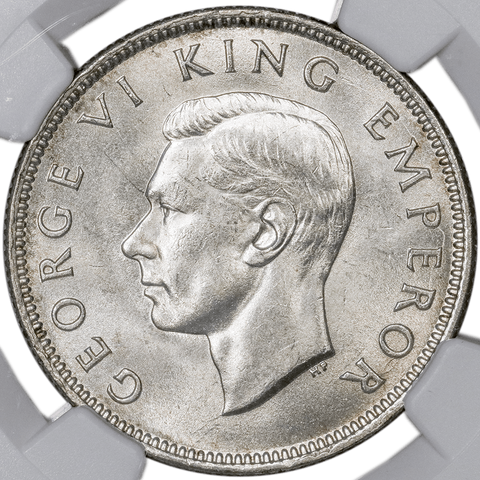 1943 New Zealand Silver Florin Pence KM.10.1 - NGC MS 64