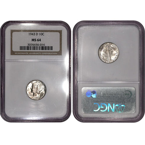 1943-D Mercury Dime - NGC MS 64 - Choice Uncirculated