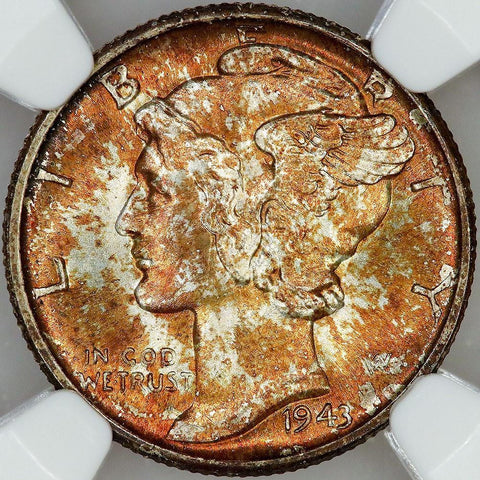 1943-D Mercury Dime - NGC MS 66 FB - Gem Uncirculated Full Bands