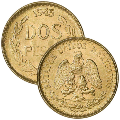 1945 Mexico 2 Peso Gold Coins - KM. 461 - PQ Brilliant Uncirculated