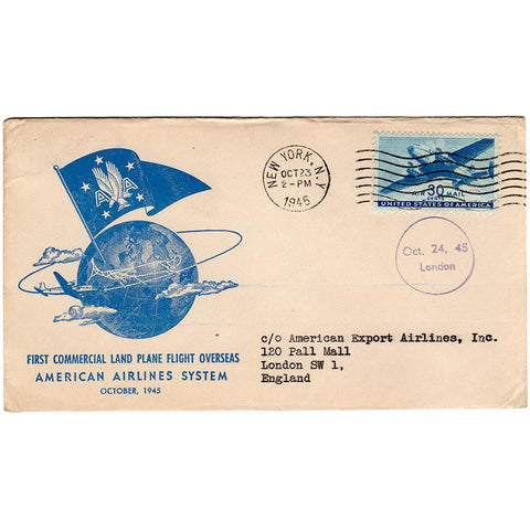 Oct 23, 1945 - Flagship London 1st Commercial Flight New York to London Cover