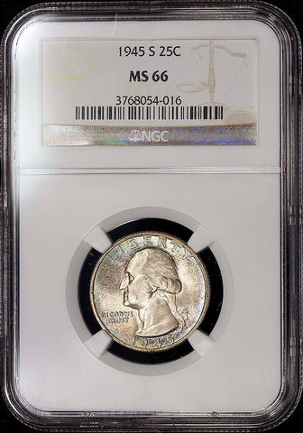 1945-S Washington Quarter - NGC MS 66 - Pretty Toned Gem