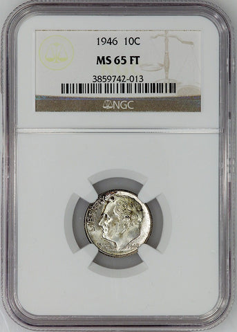 1946 Roosevelt Dime - NGC MS 65 FT (Full Torch)