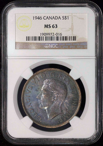 "Canada - 1946 George VI Silver Dollar Doubled ""HP"" - KM.37 - NGC MS 63"