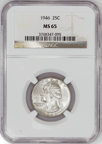 1946 Washington Quarter - NGC MS 65