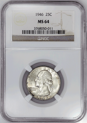 1946 Washington Quarter - NGC MS 64