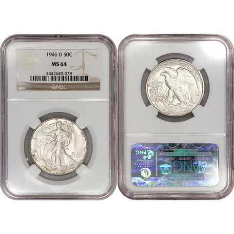 1946-D Walking Liberty Half Dollar - NGC MS 64 - Choice Uncirculated